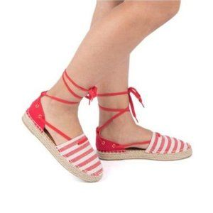 Shoes - Lace Up Espadrilles – Red/Beige